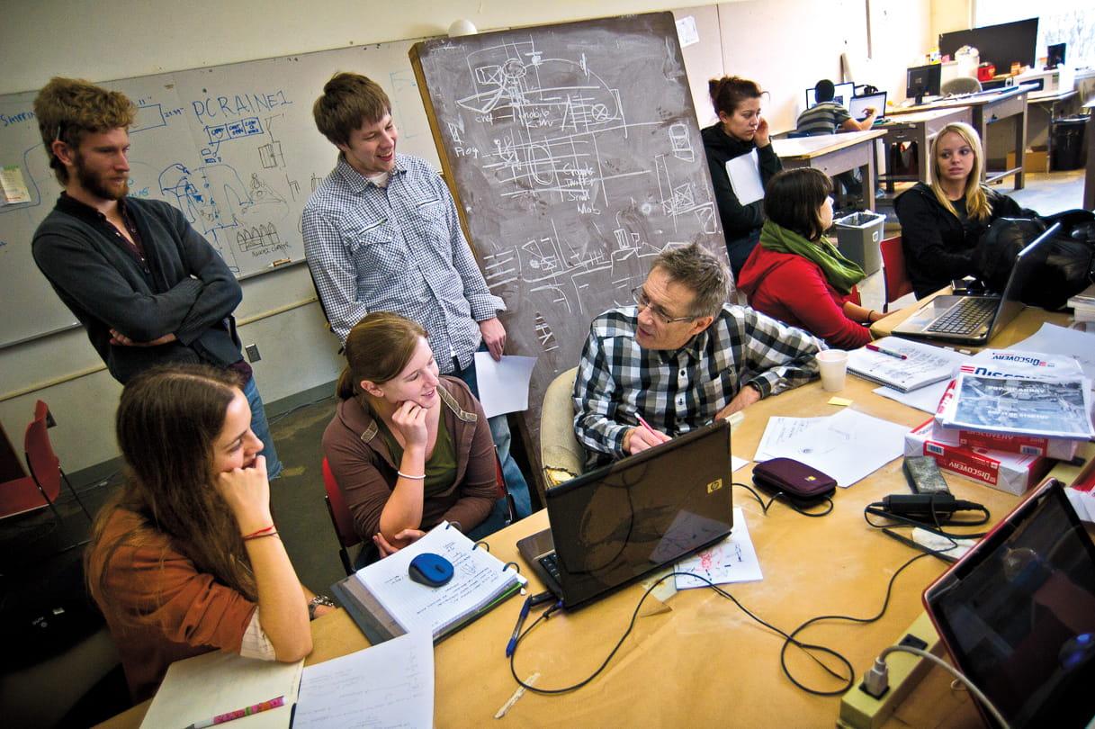 Architecture studio students and professor
