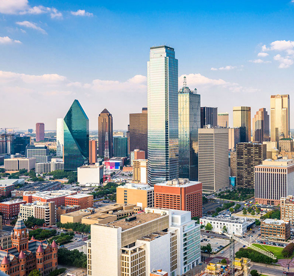 Photo showing skyline of downtown Dallas