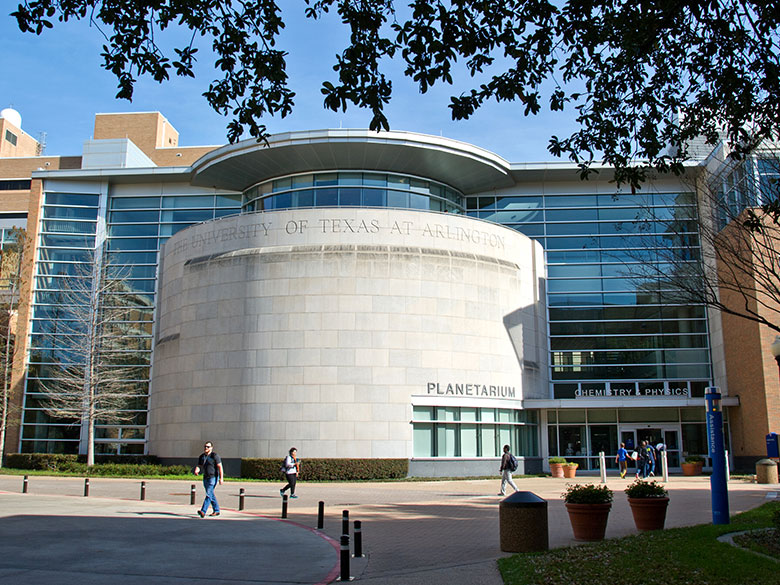 A look at the exterior of the UTA Planetarium.