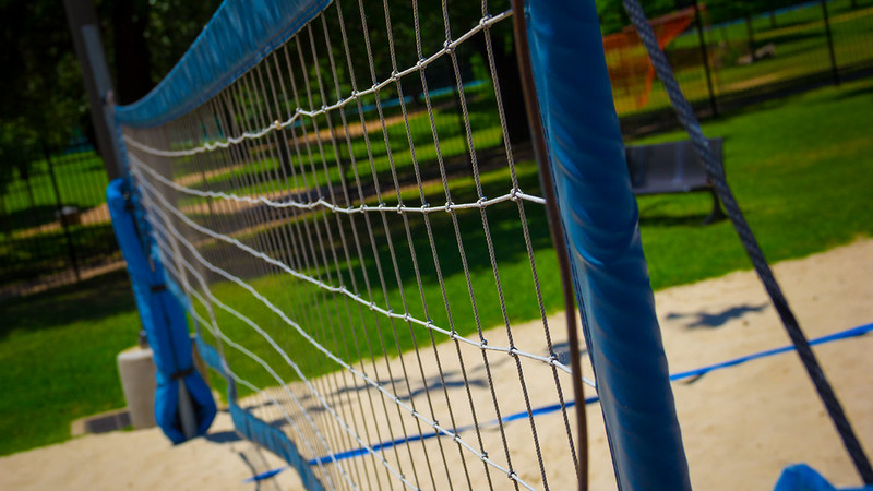 Close up shot of a volleyball net.