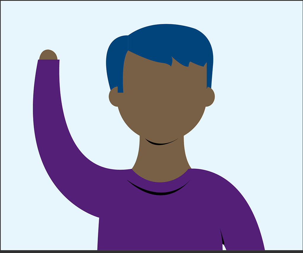 Graphics of a person raising their hand