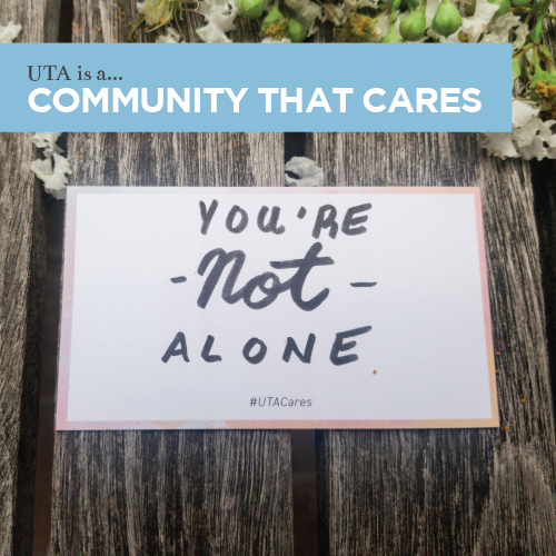 """A card which says """"You are not alone"""""""