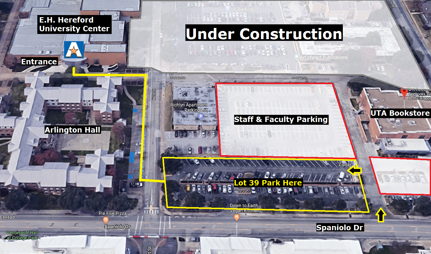 picture with overview of parking directions