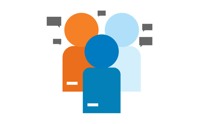 graphics of people in a group with UTA colors and grey speak balloons
