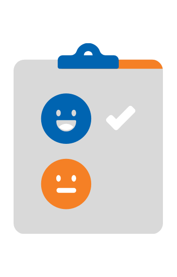 graphics of a clip board with smiling face on it