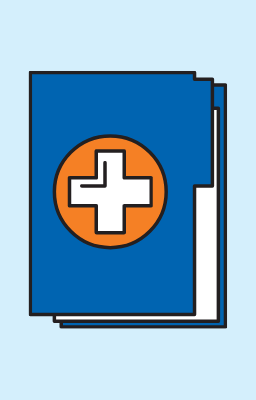 graphics of book with a red cross symbol