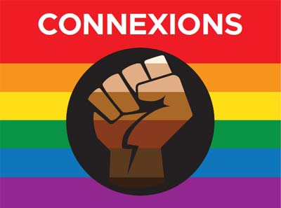 Connexions banner on pride flag with fist in middle