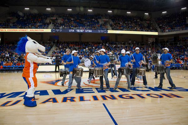 Mascot blaze drums spirit at college park center