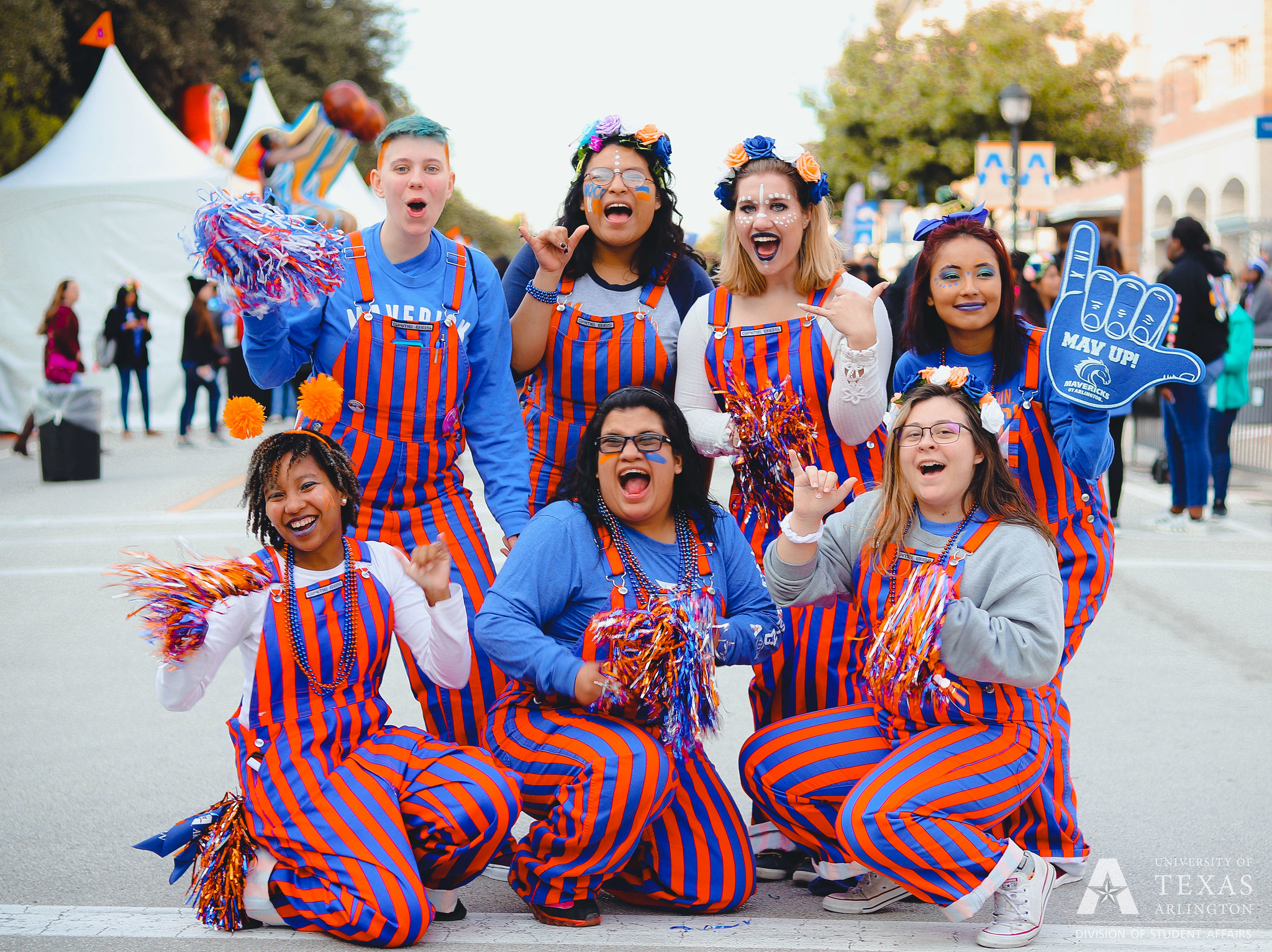 UTA wranglers, a student spirit group, pose for a picture at UTA