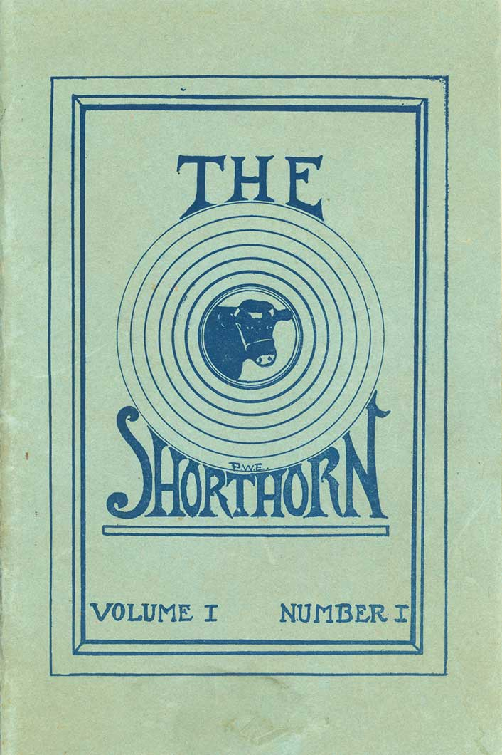 'The Shorthorn volume 1 number 1' with a bulleye and bull in center
