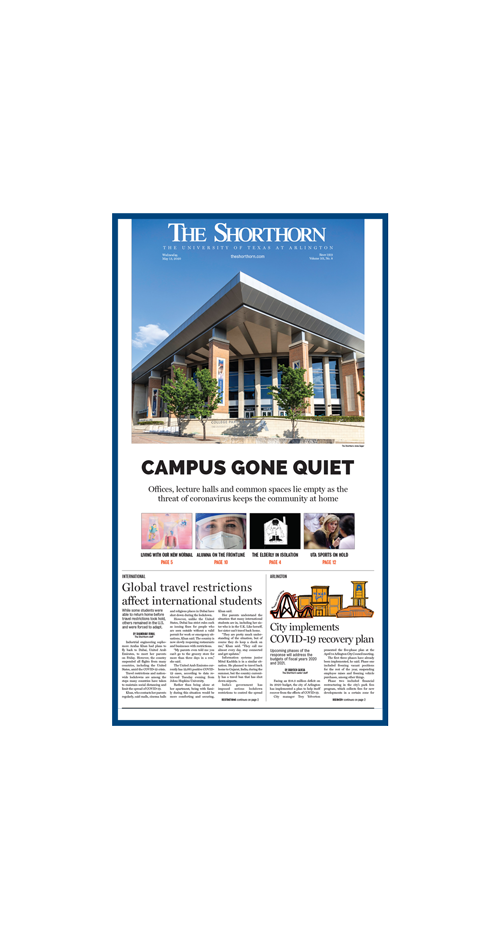 The Shorthorn newspaper cover